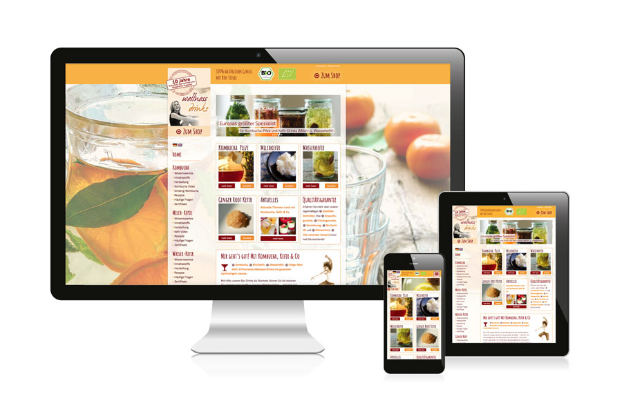 Webseite responsive Wellness Drinks
